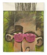 Dude With Pink Sunglasses Fleece Blanket