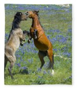 Dueling Mustangs Fleece Blanket