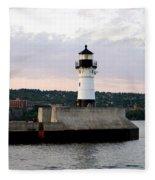 Duluth Mn Lighthouse Skyline Fleece Blanket