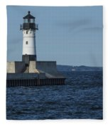 Duluth N Pier Lighthouse 40 Fleece Blanket