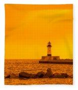 Duluth N Pier Lighthouse 41 A Fleece Blanket