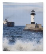 Duluth N Pierhead And Ship 1 Fleece Blanket