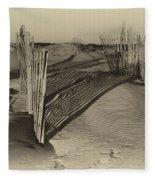 Dune Erosion Fence Outer Banks Nc Antique Plate Img_3761 Fleece Blanket
