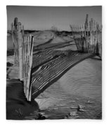 Dune Erosion Fence Outer Banks Nc B And W Img_3761 Fleece Blanket