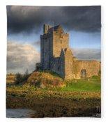 Dunguaire Castle With Dramatic Sky Kinvara Galway Ireland Fleece Blanket