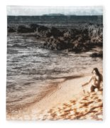 Duotone Beach Scene Fleece Blanket
