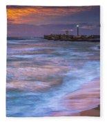 Dusk At La Caleta Beach Cadiz Spain Fleece Blanket
