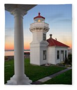 Dusk At Mukilteo Lighhouse Fleece Blanket
