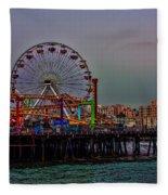Dusk At The Santa Monica Pier Fleece Blanket