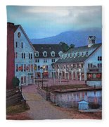 Dusk Before Snow At Town Square Fleece Blanket