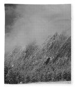 Dusted Flatirons Low Clouds Boulder Colorado Bw Fleece Blanket