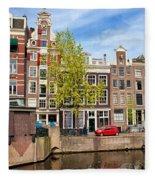 Dutch Canal Houses In Amsterdam Fleece Blanket