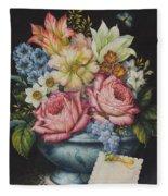 Dutch Flowers Fleece Blanket