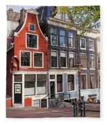 Dutch Style Traditional Houses In Amsterdam Fleece Blanket