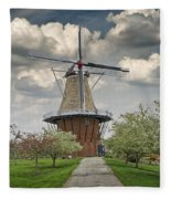 Dutch Windmill The Dezwaan On Windmill Island In Holland Michigan Fleece Blanket