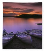 D.wiggett Canoes On Shore, Pink And Fleece Blanket
