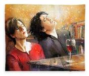 Dylan Moran And Tamsin Greig In Black Books Fleece Blanket
