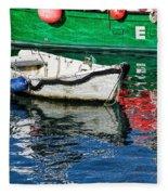 E17 Reflections - Lyme Regis Harbour Fleece Blanket