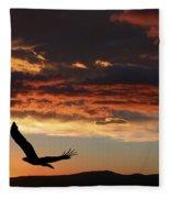 Eagle At Sunset Fleece Blanket