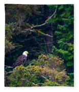 Eagle In Trees  Fleece Blanket