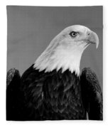 Eagle On Watch Black And White Fleece Blanket