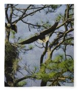 Eagle Pair And Nest Fleece Blanket