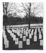 Eagle Point National Cemetery In Black And White Fleece Blanket