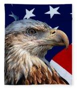 Eagle With Us American Flag Fleece Blanket