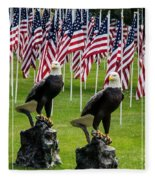 Eagles And Flags On Memorial Day Fleece Blanket