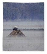 Eagles On Foggy Morning Fleece Blanket