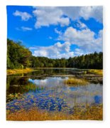 Early Autumn At Fly Pond - Old Forge New York Fleece Blanket