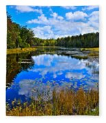 Early Autumn At Fly Pond - Old Forge Ny Fleece Blanket