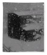 Early Blizzard At The Old Homestead Fleece Blanket