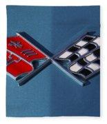Early C3 Corvette Emblem Blue Fleece Blanket