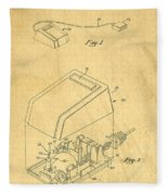 Early Computer Mouse Patent Yellowed Paper Fleece Blanket