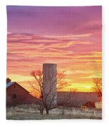 Early Country Morning Sunrise Fleece Blanket