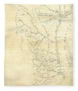 Early Hand-drawn Southern Texas Map C. 1795 Fleece Blanket