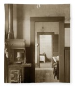 Early Kitchen With A Wood Kitchen Stove Circa 1906 Fleece Blanket