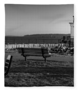 Early Morning At Bug Lighthouse Bw Fleece Blanket