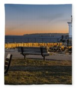 Early Morning At Bug Lighthouse Fleece Blanket