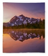 Early Morning At Picture Lake Fleece Blanket