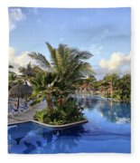 Early Morning At The Pool Fleece Blanket