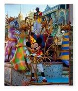 Early Morning Main Street With Mickey Walt Disney World 3 Panel Composite Fleece Blanket