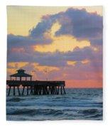 Early Morning Pier Fleece Blanket