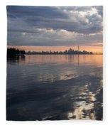 Early Morning Reflections - Lake Ontario And Downtown Toronto Skyline  Fleece Blanket