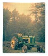 Early Morning Tractor In Farm Field Fleece Blanket