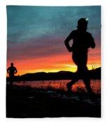 Early Morning Trail Running Fleece Blanket