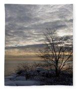 Early Morning Tree Silhouette On Silver Sky Fleece Blanket