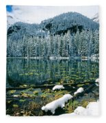 Early Snow At Nymph Lake Fleece Blanket