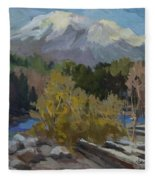 Early Snow Cascade Mountains Fleece Blanket